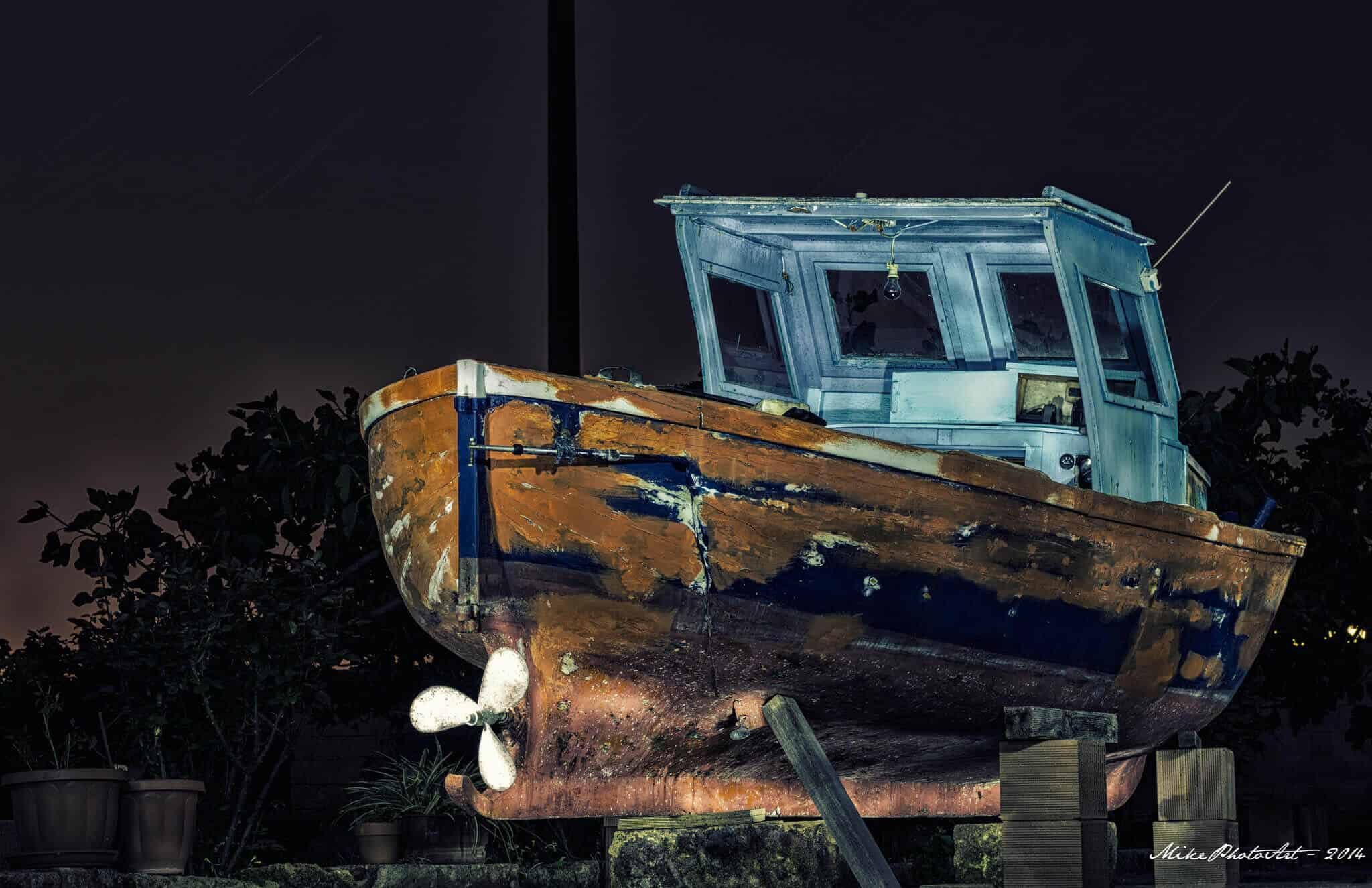 Flash Painting boat La barca by ©Mike Photo Art